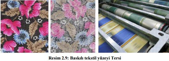 Baskili tekstil yuzeyi