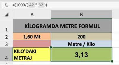 metre kg cevirme excel formul